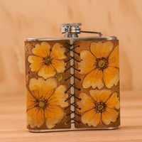 Monogram Belle Flask - Leather in Orange, Yellow and antique brown - Stainless Steel 6oz