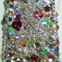 For iPhone 5 5S - Stunning 3D Chunky Big Crystal Diamond Rhinestone BLING Back Case - made with Swarovski Elements