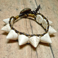 Natural Howlite Gemstone Spikes and Leather Wrap Bracelet