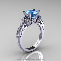 Modern Armenian Classic 14K White Gold 1.5 Ct Aquamarine Diamond Wedding Ring R137-14KWGDAQ