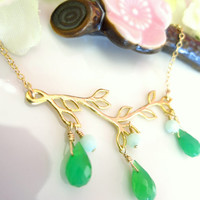 Green chrysoprase gold leaf branch necklace, mint green gold leaf branch necklace