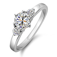 925 Sterling Silver Engagement Wedding CZ Ring with Two Side Stones