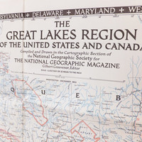 Great Lakes Region of the United States and Canada, North America Map, National Geographic Map, 1953, Large Vintage Map