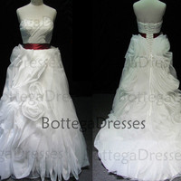 A Line Strapless Court Train Organza Ivory Wedding Dresses with Belt, Bridal Gown, Bridal Dresses