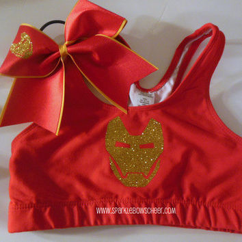 Iron Man Cotton Sports Bra and Bow Set Cheerleading