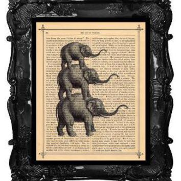 FREE SHIPPING WORLDWIDE Elephant Family Portrait by BlackBaroque