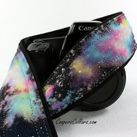 Galaxy No.300 Camera Strap, Hand painted, One of a Kind, dSLR or SLR, Cosmos, Nebula