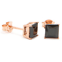 Rose Gold Black Princess Brilliant Sterling Silver CZ Stud Earrings