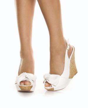 Qupid Ceduce 268 White Slingback Cutie Pie Cork Wedges