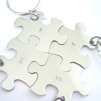 Puzzle Piece Keychain Set, Family Keychain Set, Best Friends Keychains, Initial Keychains, Set of 4 puzzle piece keychains, FREE US SHIPPING