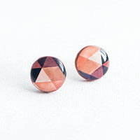 Beige and brown geometric earrings studs, small stud earrings, pattern diamond shape earrings, small stud earrings