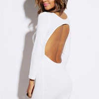 White Long Sleeve Open Back Bodycon Dress