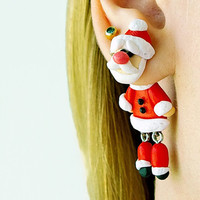 Christmas Santa fake gauge, Xmas fake plug, two part earrings, child clinging gift, front back earrings, Unique faux gauge, unusual tunnels