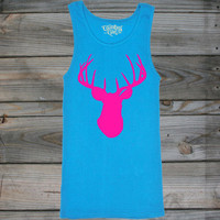 Juniors Country Girl ® Deer Head Pink W/Nape Tank