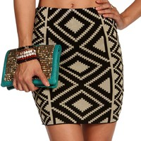 Tan/Black Tribal Print Banded Skirt