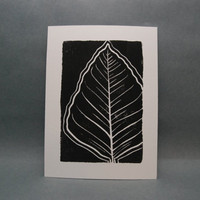 Big Leaf Linocut Print by kellismprints on Etsy