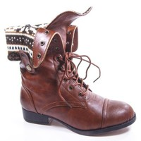 Sharper1 Black Lace Up Military Combat Boot Foldable Convertible Women Size Shoe (8 M US, Cognac Pu)