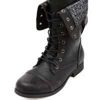 SWEATER LINED COMBAT BOOTIE