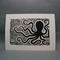 Black Swirly Octopus Design  Linocut Print by kellismprints