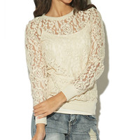 Allover Lace Sweatshirt | Wet Seal