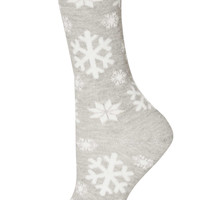 Grey Lurex Snowflake Ankle Socks