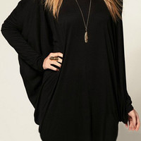 ROMWE | ROMWE Batwing Long Sleeves Black T-shirt, The Latest Street Fashion