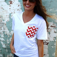 Classic White Tee w/ Chevron Pocket