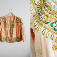 Peach Polish - Vintage Beaded Sequin Sari Cropped Jacket