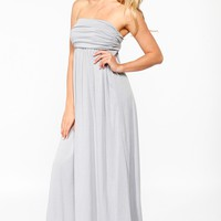 Light Grey Ruched Strapless Maxi @ Cicihot sexy dresses,sexy dress,prom dress,summer dress,spring dress,prom gowns,teens dresses,sexy party wear,women's cocktail dresses,ball dresses