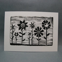 Flower Garden  Linocut Print by kellismprints on Etsy