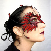 Red and black bird masquerade mask, handmade, womens, costume, accessories