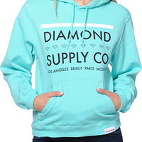 Diamond Supply Co. Girls Roots Mint Blue Pullover Hoodie