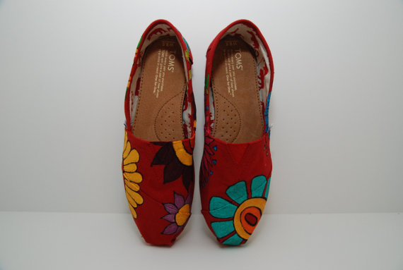 Custom Big Flower TOMS by KellismCo on Etsy