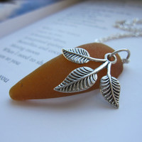 Leaf Necklace in Caramel Brown Sea Glass - Mermaid jewelry - Perfect gift for Fall Lovers FREE SHIPPING