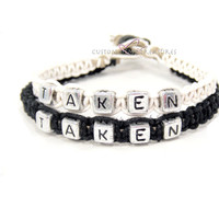Taken Couples Bracelets, Personalized Bracelet Set, Black and White Hemp Hemp Bracelets FREE US SHIPPING