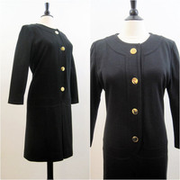 70s 80s Dress Vintage Givenchy Black Wool Knit Tunic Dress L