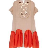 Delpozo Embellished Bib Dress - Nude Silk Dress - ShopBAZAAR