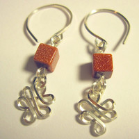 "Pierced Earrings ""Celtic Dreams"" Sterling Silver and Goldstone 1 Pair"