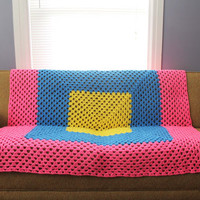 Afghan Crochet Blanket - Hot Pink, Blue, and Yellow Neon Stripe Granny Square Full Large