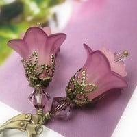 Flower Earrings, Amethyst, Swarovski Crystal, Pink, Dangle Earrings, Antiqued Brass, Lucite Flowers, Soft and Feminine, Womens Accessories