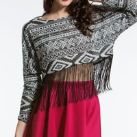Aztec Fringe Bottom Crop Top |  MakeMeChic.com