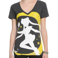Sailor Moon Foil Crest V-Neck Girls T-Shirt