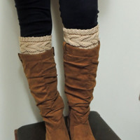 Hand Knitted Grace Cable Boot Cuffs in Light TAN