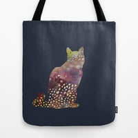 cat on blue background Tote Bag by rysunki-malunki