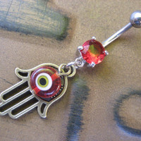 Belly Button Jewelry Ring Hamsa Red Turkish Evil Eye Hand of Fatima Charm Navel Piercing Bar Barbell