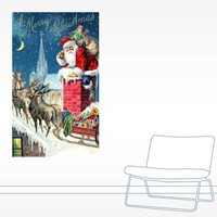 Vintage Santa at Christmas Wall Decal