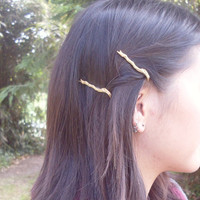 Branch Bobby Pin Twig Bobby Pin Gold Bridal Hair Pin Bridal Bobby Pin Bridal Hair Clip Rustic Woodland Wedding Bridal Hair Accessories Cute