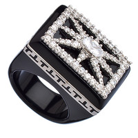 Miriam Salat Black Silver and CZ Layer Cake Ring - Max & Chloe