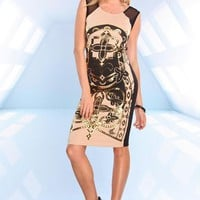 Brown Black and Gold Print Midi Dress with Mesh Detail