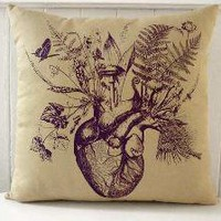 Growing Heart silk screened cotton canvas by utilitarianfranchise
